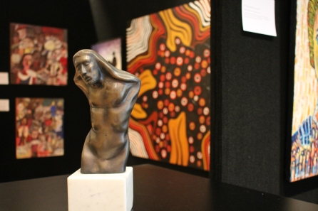 """In the foreground """"The anguished"""" by Kris-Ann Ehrich"""