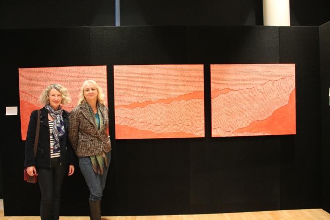 "Artist Beverley Teske in front of her work ""Lost at Gallipolli"""