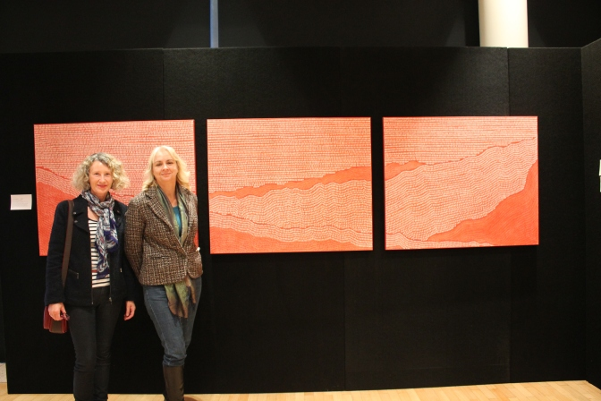 "Artist Beverley Teske in front of her work ""Lost at Gallipolli"""