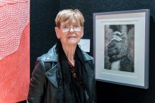 Maureen Vander Zalm with her prize winning art.