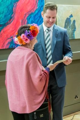 Artists Karen Benjamin being presented with Best 3D prize.