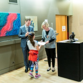 Lucia Ramirez being presented with her prize of Best Student work.