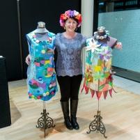 Karen Benjamin with her award winning art.