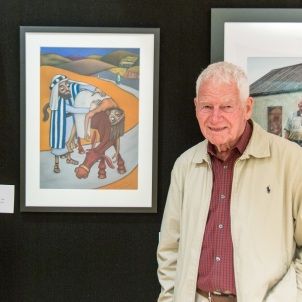 Terry Summers with his award winning art.
